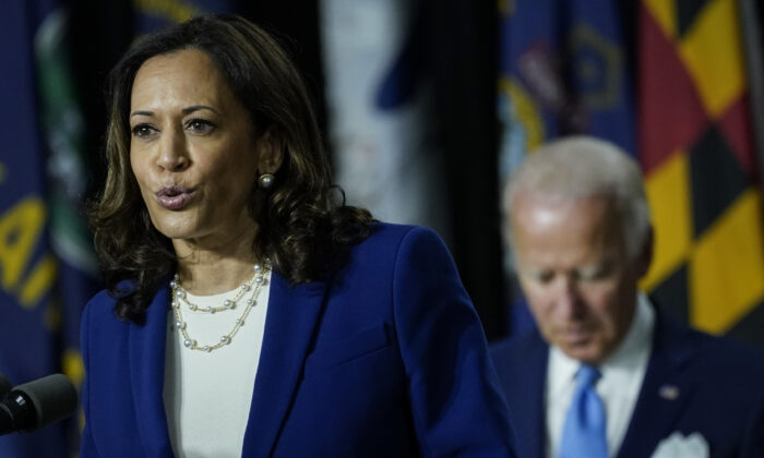 Democratic presidential candidate former Vice President Joe Biden's running mate Sen. Kamala Harris (D-Calif.) speaks during an event at the Alexis Dupont High School in Wilmington, Del. on Aug. 12, 2020. (Drew Angerer/Getty Images)