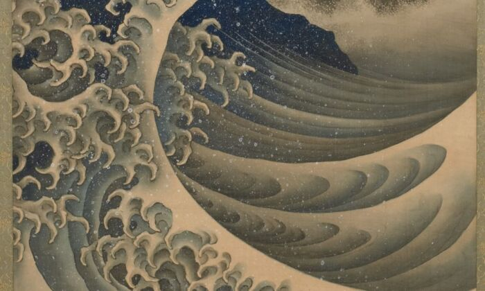 "Detail of ""Breaking Waves,"" 1847, by Katsushika Hokusai. Hanging scroll; ink and color on silk. Gift of Charles Lang Freer, Freer Gallery of Art. (The Freer Gallery of Art and the Arthur M. Sackler Gallery)"