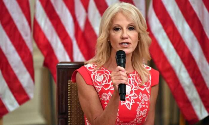 "Counselor to the President Kellyanne Conway speaks during the ""Getting America's Children Safely Back to School"" event at the white House in Washington, on Aug. 12, 2020. (Nicholas Kamm/AFP via Getty Images)"