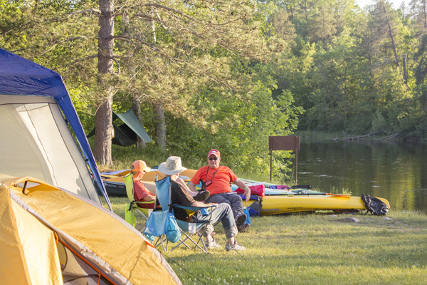 Campers at Howell Landing during the St Croix River Association Annual Paddle