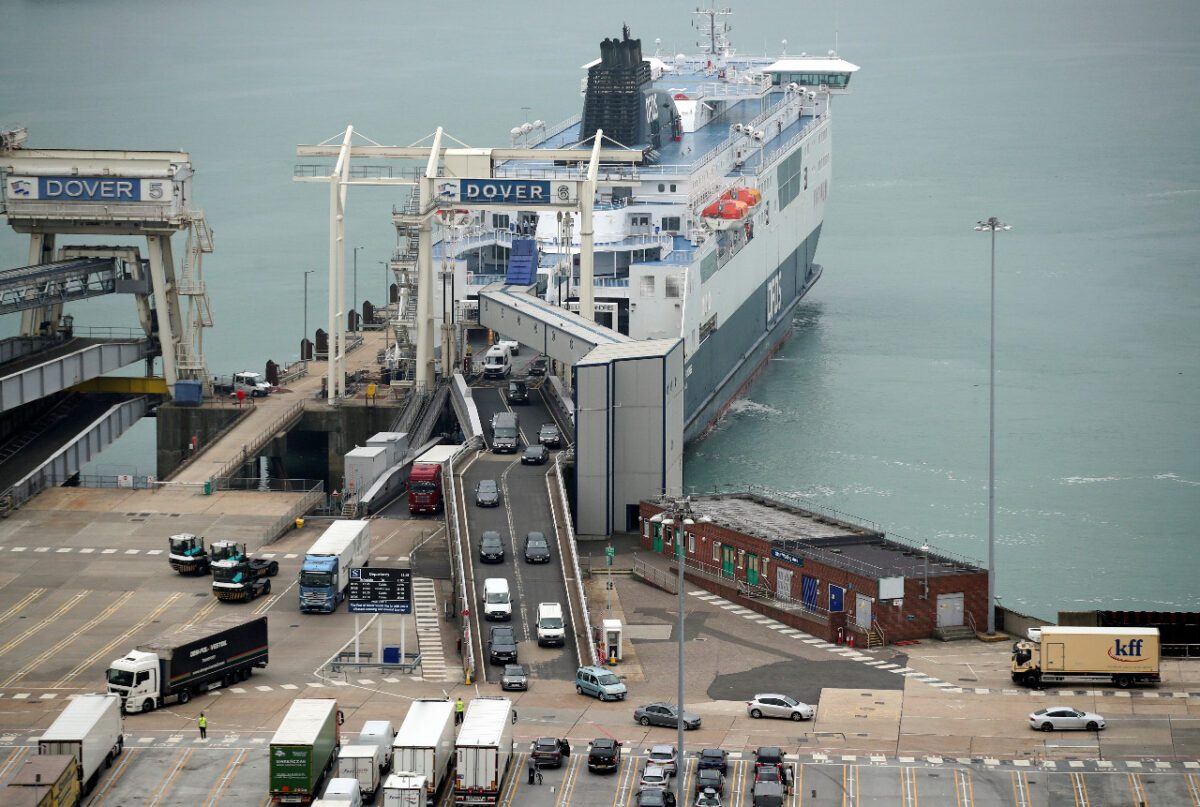 Cars leave a ferry at the Port of Dover, as Britain imposes a 14-day quarantine on arrival from France