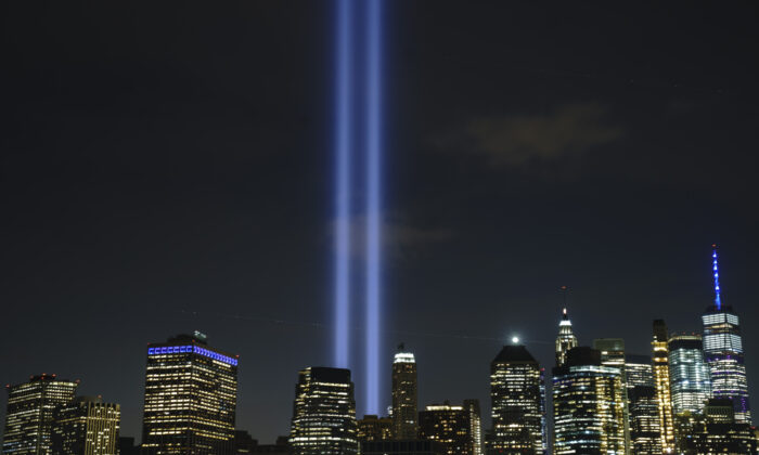 The 'Tribute in Light' rises skyward on the 18th anniversary of the 9/11 terrorist attacks, in New York City on Sept. 11, 2019. (Drew Angerer/Getty Images)