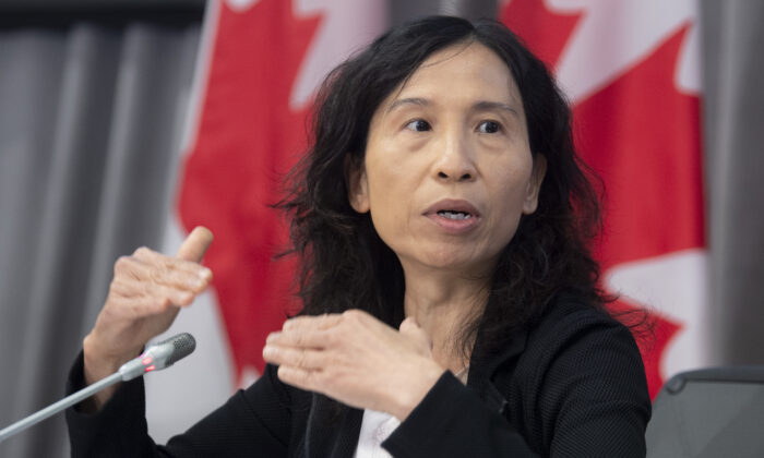 Chief Public Health Officer Dr. Theresa Tam responds to a question during a news conference in Ottawa on Aug. 14, 2020. (The Canadian Press/Adrian Wyld)