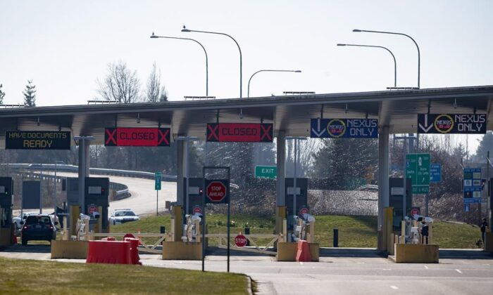 The U.S. port of entry into Blaine, Wash., is seen in Surrey, B.C., on March 18, 2020. (The Canadian Press/Darryl Dyck)