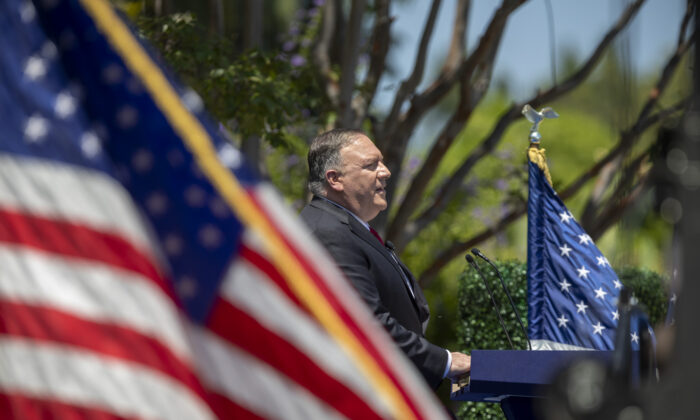 U.S. Secretary of State Mike Pompeo delivers a speech on communist China and the future of the free world at the Richard Nixon Presidential Library in Yorba Linda, Calif., on July 23, 2020. (David McNew/Getty Images)