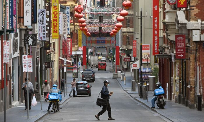 Melbourne's Chinatown on Aug. 13, 2020. (William West/AFP via Getty Images)
