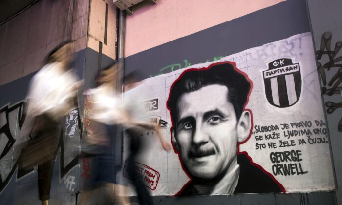 "A mural depicting British novelist George Orwell with the quote ""Freedom is the right to tell people what they don't want to hear,"" in Belgrade, Serbia, on May 8, 2018. (Oliver Bunic/AFP via Getty Images)"