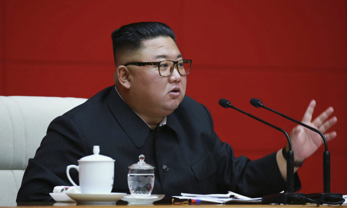 In this photo provided by the North Korean government, North Korean leader Kim Jong Un attends a ruling party meeting in Pyongyang, North Korea, on Aug. 13 2020. (Korean Central News Agency/Korea News Service via AP)