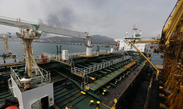 The Iranian oil tanker Fortune is anchored at the dock of the El Palito refinery near Puerto Cabello, Venezuela on May 25, 2020. (Ernesto Vargas/AP Photo)