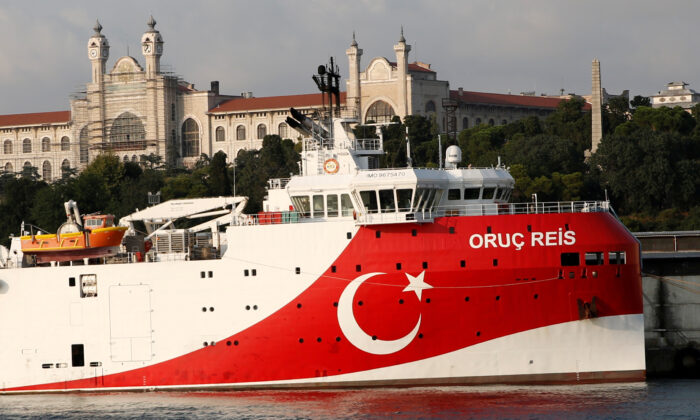 The Turkish seismic research vessel Oruc Reis is seen in Istanbul on Aug. 22, 2019. (Murad Sezer/File Photo/Reuters)