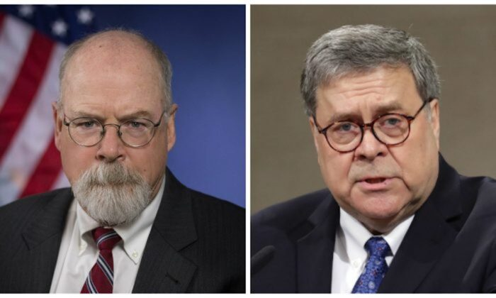 United States Attorney John Durham, left, and Attorney General William Barr. (Department of Justice; Chip Somodevilla/Getty Images)