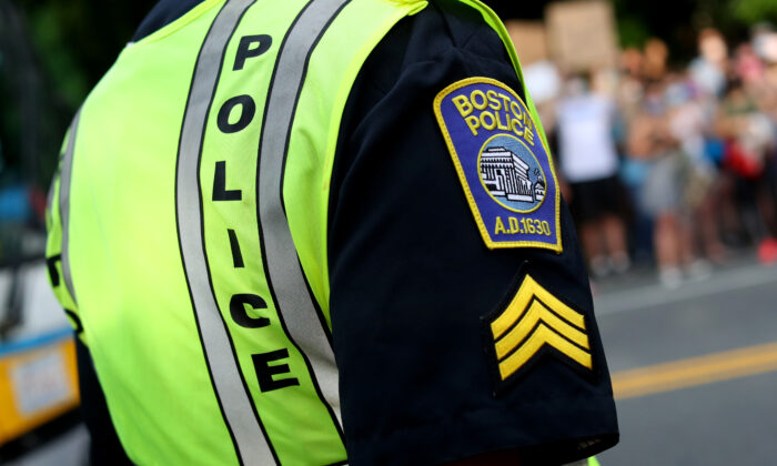 A Boston Police Officer in Boston, Massachusetts. (Maddie Meyer/Getty Images)