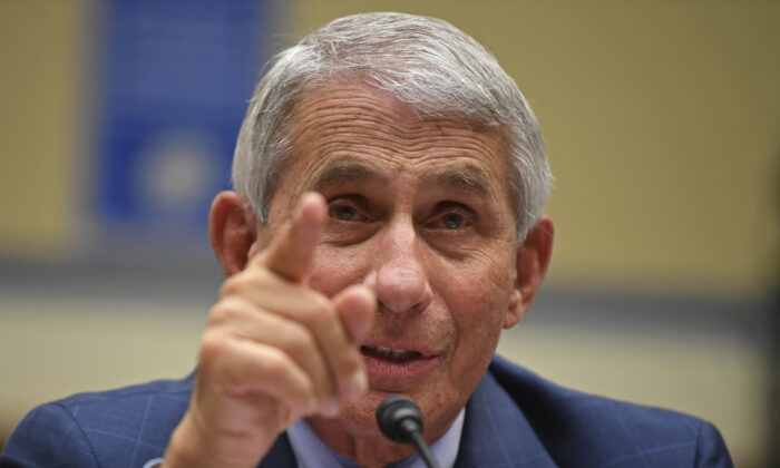 Dr. Anthony Fauci, director of the National Institute for Allergy and Infectious Diseases, testifies during a House Subcommittee hearing on the COVID-19 pandemic on Capitol Hill in Washington, on July 31, 2020. (Kevin Dietsch/Pool via AP)