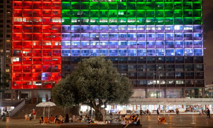 Tel Aviv City Hall is lit up with the flag of the United Arab Emirates as UAE and Israel announced they would be establishing full diplomatic ties, in Tel Aviv, Israel, on Aug. 13, 2020. (Oded Balilty, File/AP Photo)