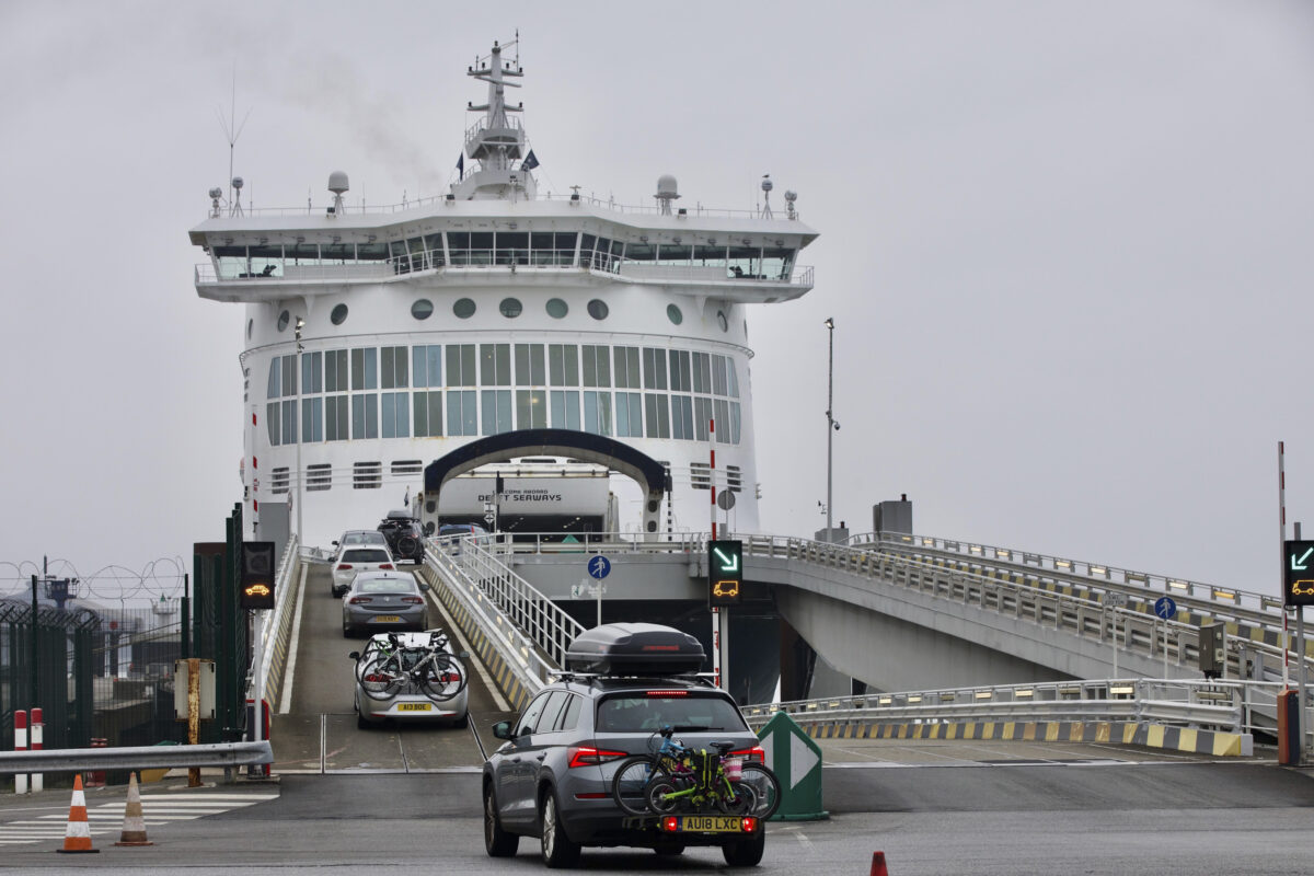 Cars are loaded onto a cross-channel ferry at the Port of Dunkerque, France
