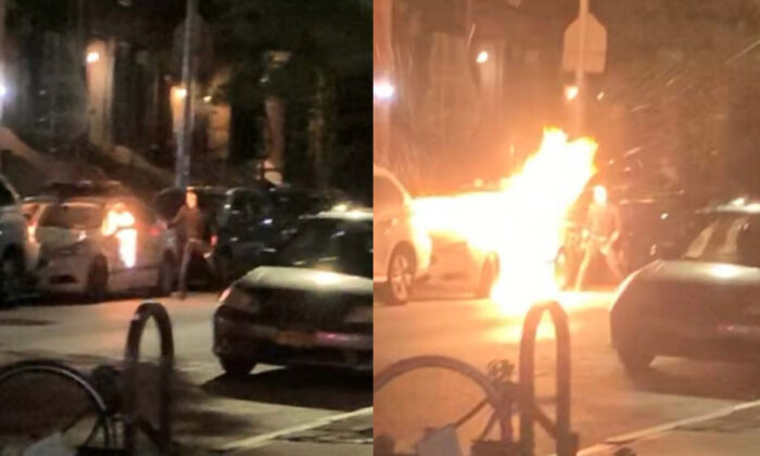An NYPD vehicle is lit on fire on West 83rd Street toward Central Park, New York, in the early hours of July 29, 2020. (U.S. District Court Eastern District of New York)