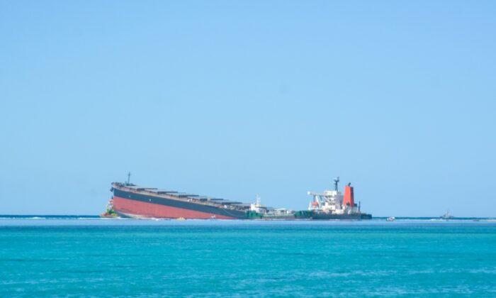 The MV Wakashio, a bulk carrier ship that recently ran aground off the southeast coast of Mauritius, on Aug. 12, 2020. (Kooghen Modeliar-Vyapooree-L'express Maurice/AP Photo)