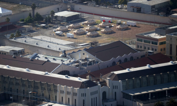 A view of a new emergency care facility that was erected to treat inmates infected with COVID-19 at San Quentin State Prison on July 8, 2020 in San Quentin, Calif.(Justin Sullivan/Getty Images)