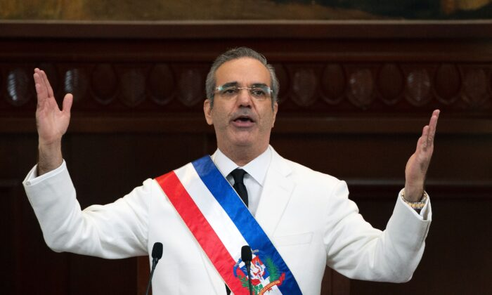 Dominican Republic incoming President Luis Abinader delivers a speech after being sworn-in, during the inauguration ceremony at the National Congress in Santo Domingo, on August 16, 2020.  (Photo by Orlando Barría/Pool AFP via Getty Images)