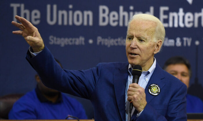 Democratic presidential candidate former Vice President Joe Biden speaks before a training session for precinct captains at the International Alliance of Theatrical Stage Employees in Las Vegas, Nev., on Feb. 21, 2020. (Ethan Miller/Getty Images)
