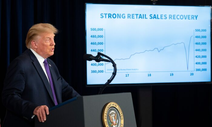 U.S. President Donald Trump speaks during a press conference in Bedminster, N.J., on Aug. 15, 2020. (JIM WATSON/AFP via Getty Images)