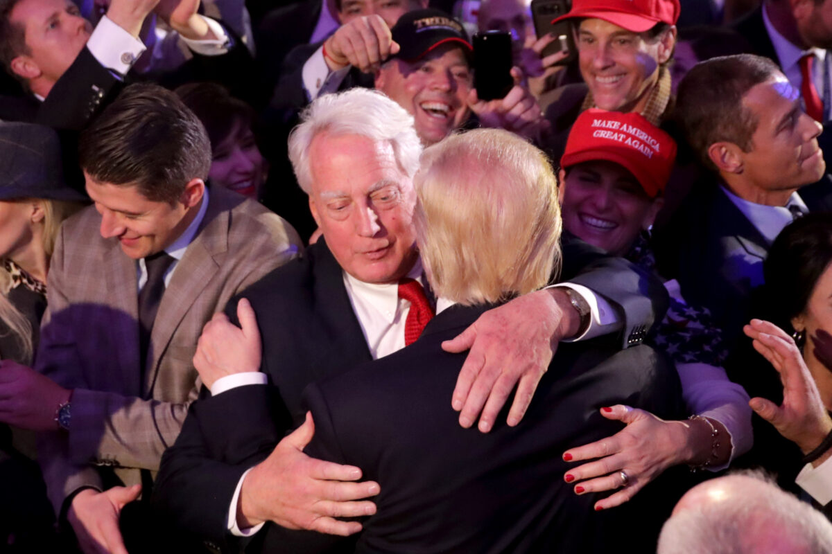 Donald Trump hugs his brother Robert Trump
