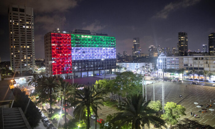 The Tel Aviv City Hall is lit up with the flag of the United Arab Emirates as the UAE and Israel announced they would be establishing full diplomatic ties, in Tel Aviv, Israel, on Aug. 13, 2020. (Oded Balilty/AP Photo)