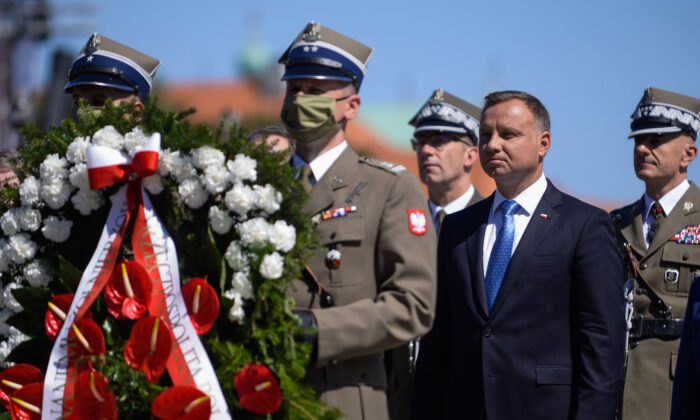 The President of Poland, Andrzej Duda takes part  in the celebrations of the 100th Anniversary of the Battle of Warsaw on Pilsudski Square in Warsaw, Poland, on Aug. 15, 2020. U.S. Secretary of State Mike Pompeo was in attendance while visiting Poland as part of a tour of several eastern European countries. (Omar Marques/Getty Images)