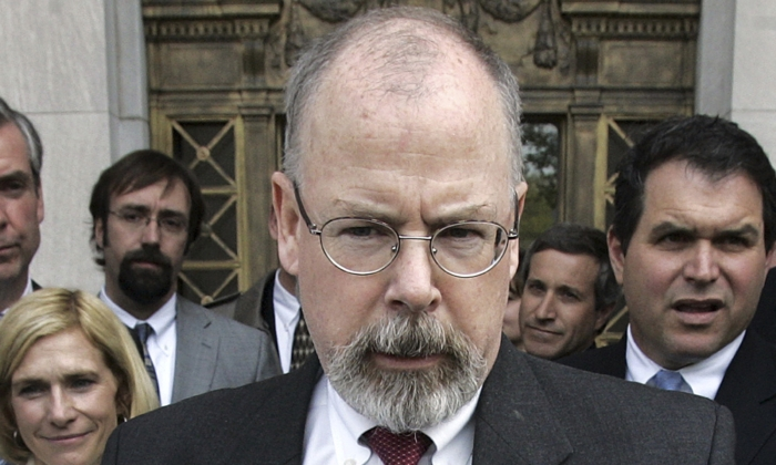 Attorney John Durham speaks to reporters on the steps of U.S. District Court in New Haven, Conn., on April 25, 2006. (Bob Child/AP Photo)