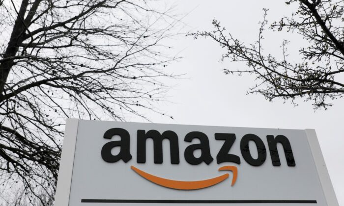 Signage is seen at an Amazon facility in Bethpage on Long Island, N.Y., on Mar 17, 2020. (Andrew Kelly/Reuters)
