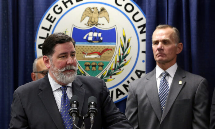 Pittsburgh Mayor Bill Peduto talks at a news conference in Pittsburgh, Pa., on Oct. 28, 2018. (Aaron Josefczyk/File/ Reuters)