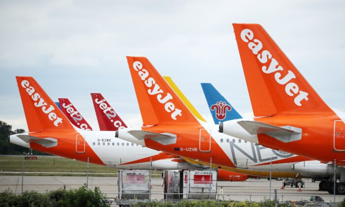 EasyJet planes are parked at a stand at Stansted Airport, in Stansted, Britain on June 30, 2020. (Dan Kitwood/Getty Images)