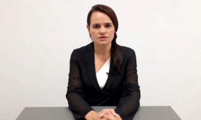 Belarusian opposition politician Sviatlana Tsikhanouskaya addresses the nation in an unknown location in Lithuania, in this still image taken from handout video released on Aug. 17, 2020. (Sviatlana Tsikhanouskaya Headquarters/Handout via Reuters)