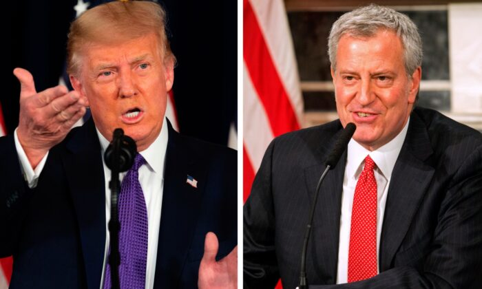 (L) President Donald Trump speaks during a press conference in Bedminster, N.J., on Aug. 15, 2020. (Jim Watson/AFP via Getty Images) (R) Mayor Bill de Blasio speaks during a video press conference at the NYC City Hall on March 19, 2020. (William Farrington-Pool/Getty Images)