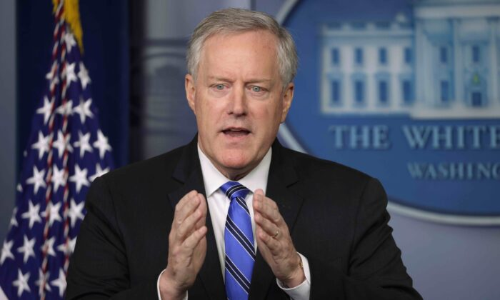 White House chief of staff Mark Meadows speaks during a news briefing in the James Brady Press Briefing Room of the White House in Washington on July 31, 2020. (Alex Wong/Getty Images)