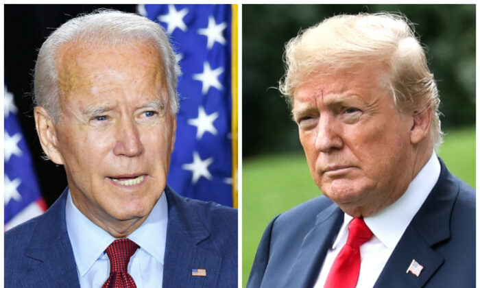Presumptive Democratic presidential nominee Joe Biden (L) speaks to reporters in Wilmington, Del., on Aug. 13, 2020. (Mandel Ngan/AFP via Getty Images); President Donald Trump (R) before boarding Marine One on the South Lawn of the White House on June 27, 2018. (Samira Bouaou/The Epoch Times)