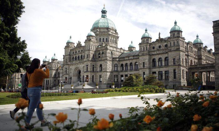 The B.C. Legislature in Victoria is shown on June 10, 2020. (The Canadian Press/Chad Hipolito)