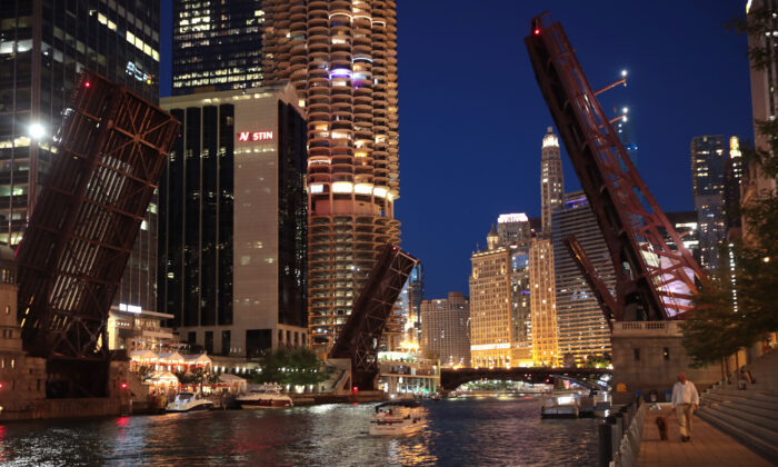Bridges across the Chicago river are raised to control access into downtown in Chicago on Aug. 12, 2020, after widespread looting broke out early Monday in the city. (Scott Olson/Getty Images)