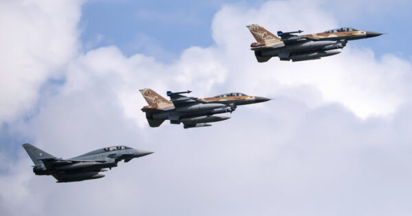 German and Israeli air forces fly over the Fuerstenfeldbruck airbase