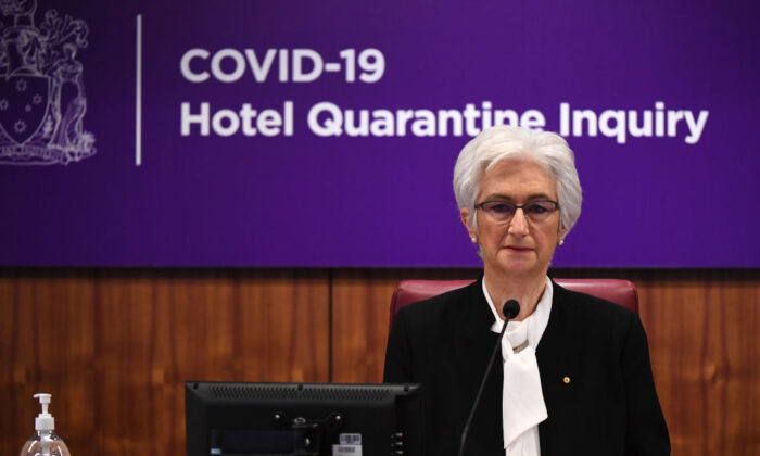 Jennifer Coate AO speaks during COVID-19 Hotel Quarantine Inquiry in Melbourne, Australia.  on July 20, 2020. (James Ross - Pool/Getty Images)
