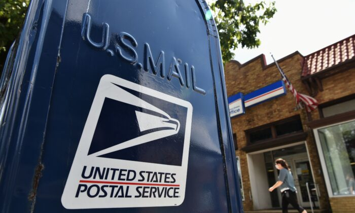 A mailbox outside a post office in Washington on Aug. 17, 2020.  (MANDEL NGAN/AFP via Getty Images)