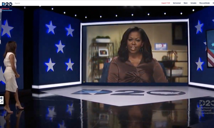 In this screenshot from the DNCC's livestream of the 2020 Democratic National Convention, actress and activist Eva Longoria (L) introduces Former First Lady Michelle Obama to address the virtual convention on Aug. 17, 2020. (DNCC via Getty Images)