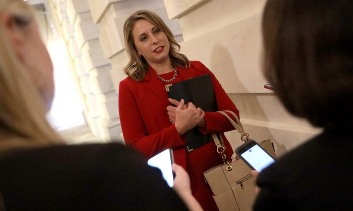 Rep. Katie Hill (D-Calif.) answers questions from reporters at the U.S. Capitol following her final speech on the floor of the House of Representatives in Washington on Oct. 31, 2019. (Win McNamee/Getty Images)