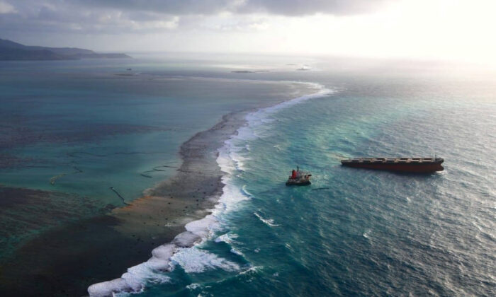 A Japanese bulk carrier MV Wakashio, that has struck a coral reef causing an oil spill, is seen in Mauritius, in this undated aerial picture obtained from social media on Aug. 18, 2020. (Mobilisation Nationale Wakashio/via Reuters)