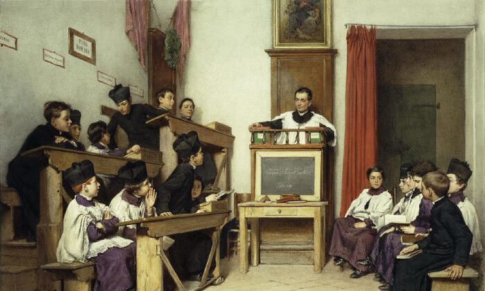 """The Latin Class"" by Ludwig Passini, 1869. (Public domain)"