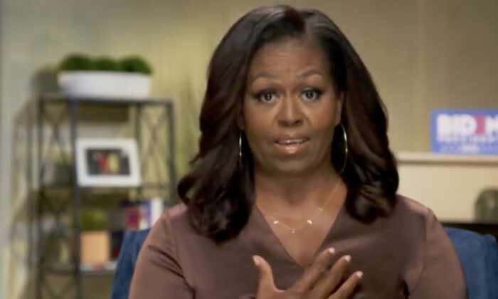 In this screenshot from the DNCC's livestream of the 2020 Democratic National Convention, Former First Lady Michelle Obama addresses the virtual convention on Aug. 17, 2020. (Handout/DNCC via Getty Images)