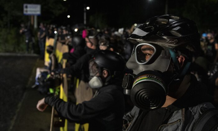 Rioters in Portland, Ore., on Aug. 15, 2020. (Paula Bronstein/Getty Images )