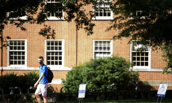 A student walks through the campus of the University of North Carolina at Chapel Hill in Chapel Hill, N.C., on Aug. 18, 2020. (Melissa Sue Gerrits/Getty Images)