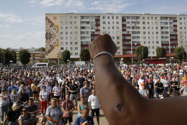Belarusian miners gather for a rally in Salihorsk