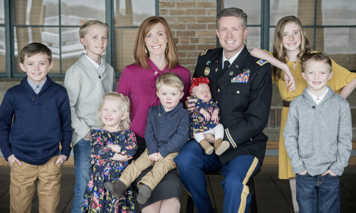 Jennie Taylor with her late husband, Maj. Brent Taylor, and their seven children. (Courtesy of Jennie Taylor)